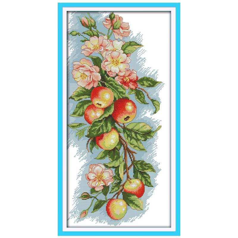 Cherry Grapes roses Flowers apples counted Cross Stitch 11CT 14CT Cross Stitch Set DIY Cross-stitch Kit Embroidery Needlework