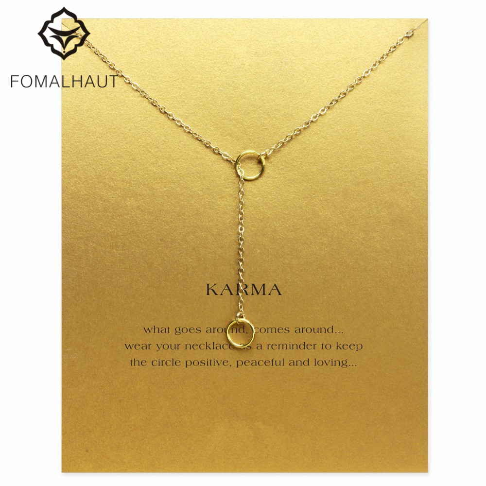 Hot Sale Sparkling karma double circle lariat necklace gold plated Pendant necklace