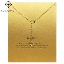 Sparkling karma double circle lariat necklace Pendant necklace Clavicle Chains Necklace Women FOMALHAUT Jewelry