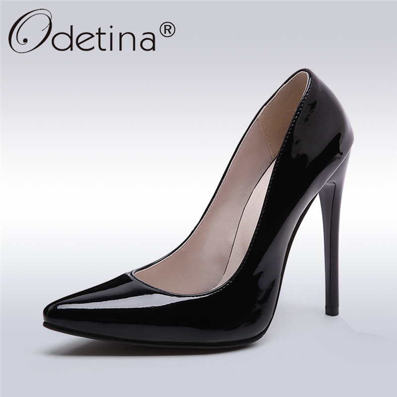 Odetina 2017 Fashion Extreme High Heels Stilettos Pumps Sexy Pointed Toe 12 Cm Ladies Party Shoes Thin Heels Slip On Big Size 48 odetina 2017 new fashion denim pumps for ladies extreme high heels 12 cm sexy women party shoes stiletto pointed toe big size 43