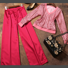 Spring Summer Of 2017 New Europe Fashion V-neck Collar Long Sleeved Sequin Shirt Wide Leg Pants Suit