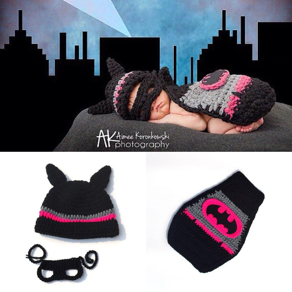 Hot Sale Infant Baby Batman Hat Cape Set Crochet Hot Pink Baby