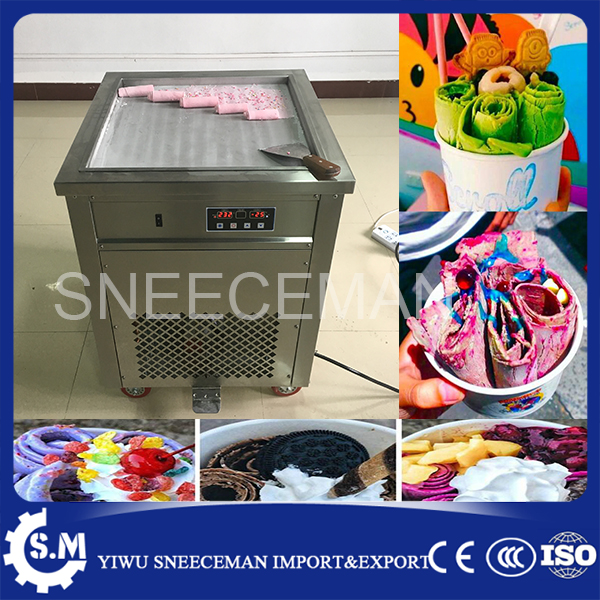 free shipping Big pan 50cm pan roll machine automatic fried ice cream rolling rolled machine 25-35L/H frying soft ice cream make intelligent square pan double compressor fry ice cream machine ice pan machine fried ice cream roll machine with freezer