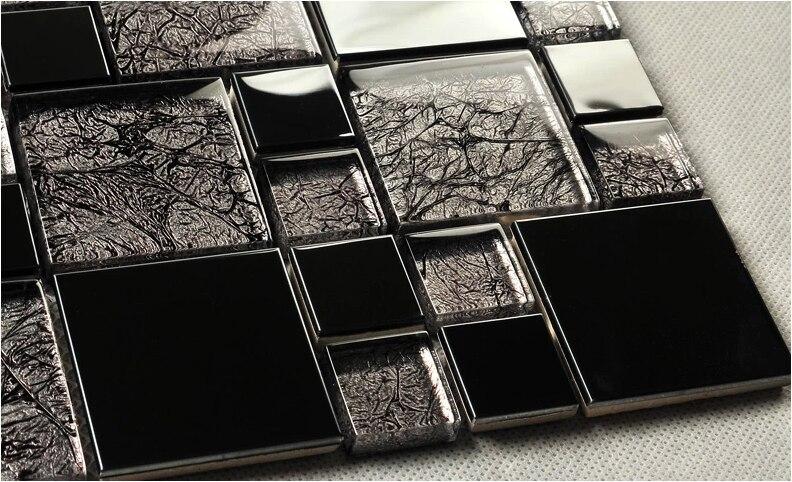 Glas Mozaiek Tegels : Vierkante grijs kleur glas gemengde rvs mozaïek tegels voor keuken