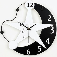 M.Sparkling Modern Silent Quartz Clock Mediterranean Style Bedroom Living Room Personalized Moon Wall Clock Fashion Brief Clock()