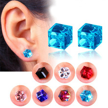GS 9 Colors Top Austrian Crystal Beads Magnetic Slimming Stud Earrings For Women Water Cube Health Lose Weight Jewelry 2018 G4