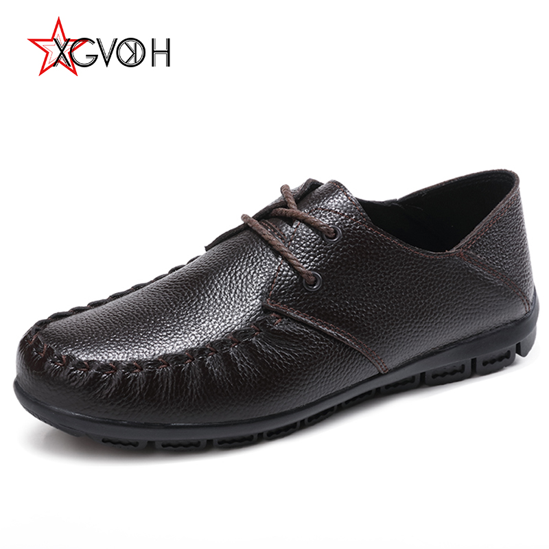 Men Big Sizes Genuine Leather Shoes Man xgvokh Brand Lace-Up Men's Casual Shoes Male Moccasin Brown black Spring autumn Flats hot sale genuine leather men casual shoes black brown men flats handmade men father shoes lace up men shoes dropship