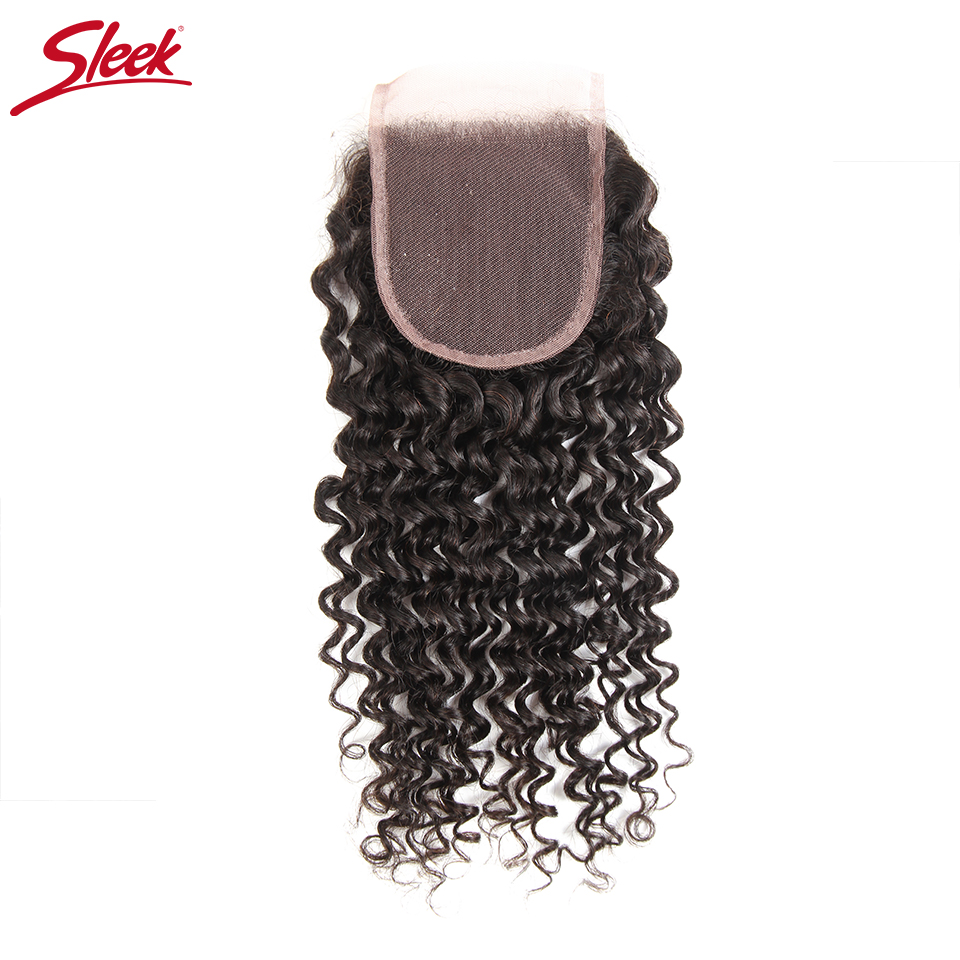 SLEEK HAIR Free Part Malaysian Curly Human Hair Lace Closure 130% Density Remy Hair Natural Color 8-18 Inches