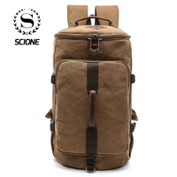 Scione Men Large Capacity Cylinder Backpacks Canvas Luggage Shoulder Bags Duffle Travel Waterproof Solid Leather Casual Case