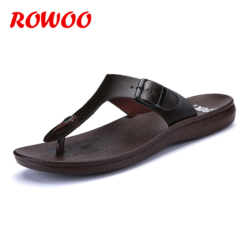 Classic Summer Shoes Men Slippers Quality leather Sandals For Men Comfortable Flip Flops Men Beach Sandals Solid Male Slippers summer men flip flops high quality comfortable beach sandals shoes for men male slippers plus size 47 casual shoes free shipping