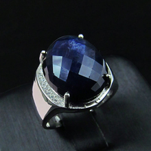Men ring Natural sapphire Genuine solid 925 sterling silver precious gem stone rings black blue fine jewelry