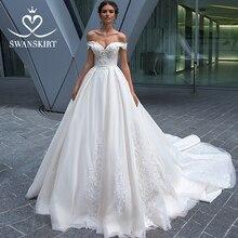 Vintage Beaded Lace Wedding Dress Appliques Off Shoulder A Line Princess Bride Gown Court Train Swanskirt F125 vestido de noiva