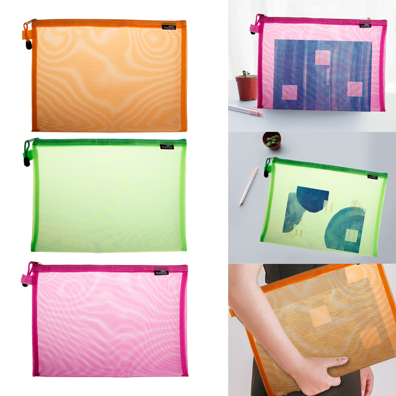 A4 Gridding Waterproof Zip Bag Document Pen Filing Products Pocket Folder Office & School Supplies