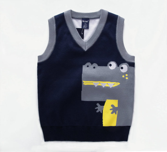 9dd9ad48 Fashion style Kids boys pullover knitted vest coat Boys Crochet Cotton  Crocodile vest Children top quality sleeveless sweaters