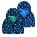 Primavera e no Outono estilo meninos 2-8 anos jaqueta com capuz de lã lining jaqueta impressão outerwear casaco fino estilo estrela completa com zipper