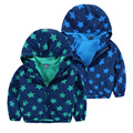 Spring and Autumn style boys 2-8 years jacket hooded fleece lining full star print jacket outerwear thin style coat with zipper