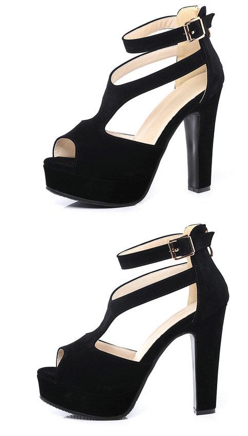 QUTAA 2017 Women Pumps Summer Black Ladies Shoe Square High Heel Peep Toe PU Leather Zipper Woman Wedding Shoes Size 34-43 14