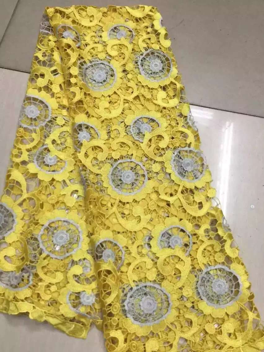 2016 wholesale african guipure lace fabric 5yards Latest design african cord lace,high quality african swiss lace fabric,