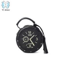 PU Sholuder Bag Famous Designer Brand Circular Bag Clock Shape Unique Totes Vintage Handbag B-009