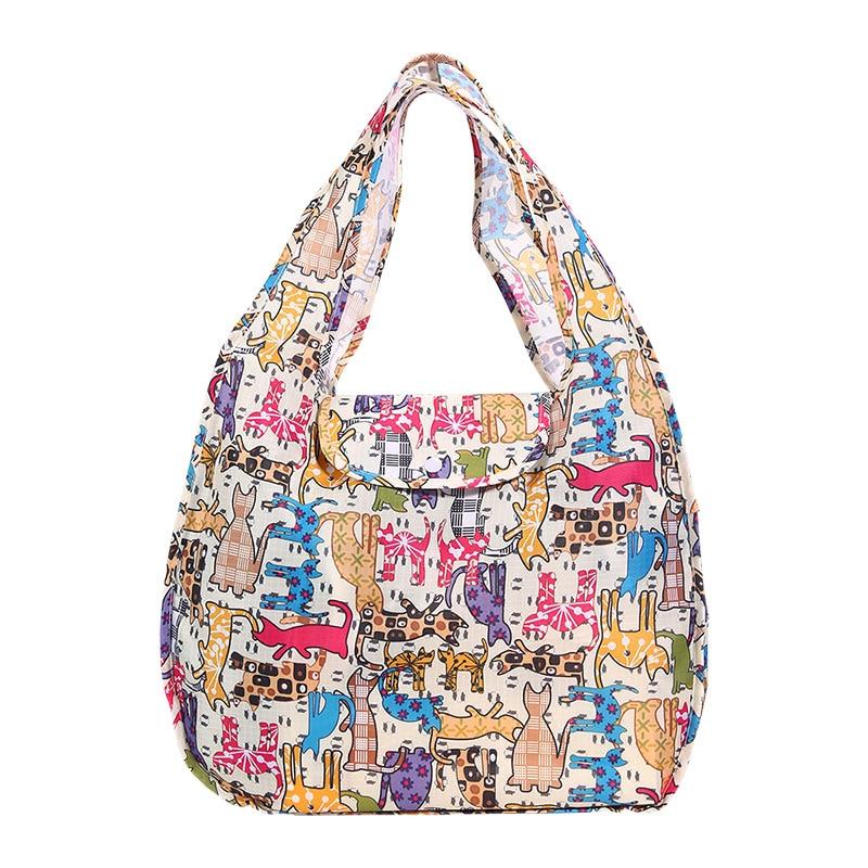 Portable Folding Shopping Bag Large Oxford Bags Thick Bag Foldable Waterproof Ripstop Shoulder Bag Handbag