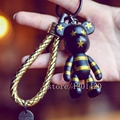 Cute Teddy Keychains Bear Momo leather rope Lanyards Keychain Gloomy Bear Bag Charm Star Bear