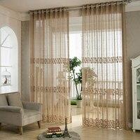 Jacquard Design Schiere Vorhang Panel Chic Zimmer Blumen Tüll Vorhang Voile Dekoration Tür Fenster Vorhang für Wohnzimmer