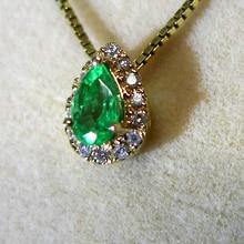 18k цельное золото капли воды эизумруд кулон ожерелье ювелирные украшения прекрасный кот девушка день рождения