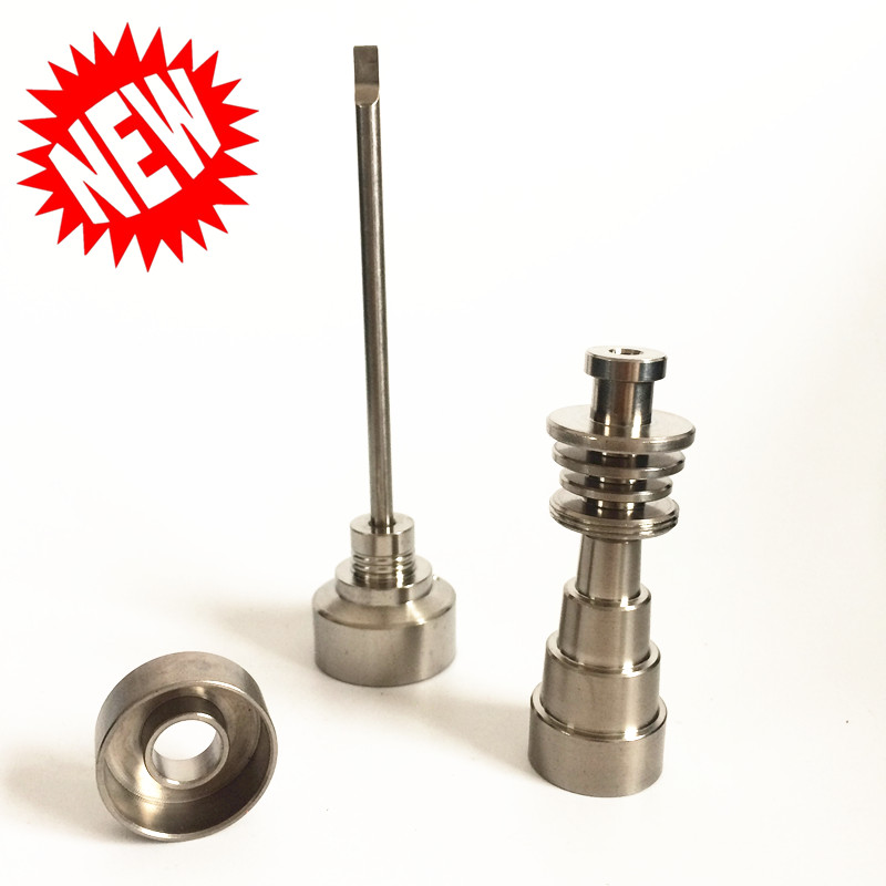 2018 Titanium Nail Popular Gr2 6 IN 1 4 IN 1 Size Domeless Titanium Nail with Quartz Bowl Titanium Dish 22mm 25|Shisha Pipes & Accessories| |  - title=