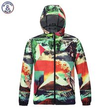 2017 Mr.1991INC Autumn Spring lovely Jacket Men Hooded Hoody Waterproof Jacket Print Volcano Eruption Thin Polyester Outerwear T
