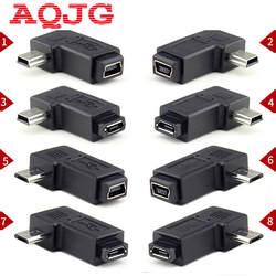 90 градусов левый и правый угловой мини USB 5pin Женский к Micro USB Мужской синхронизации данных адаптер штекер Micro USB к Mini USB разъем