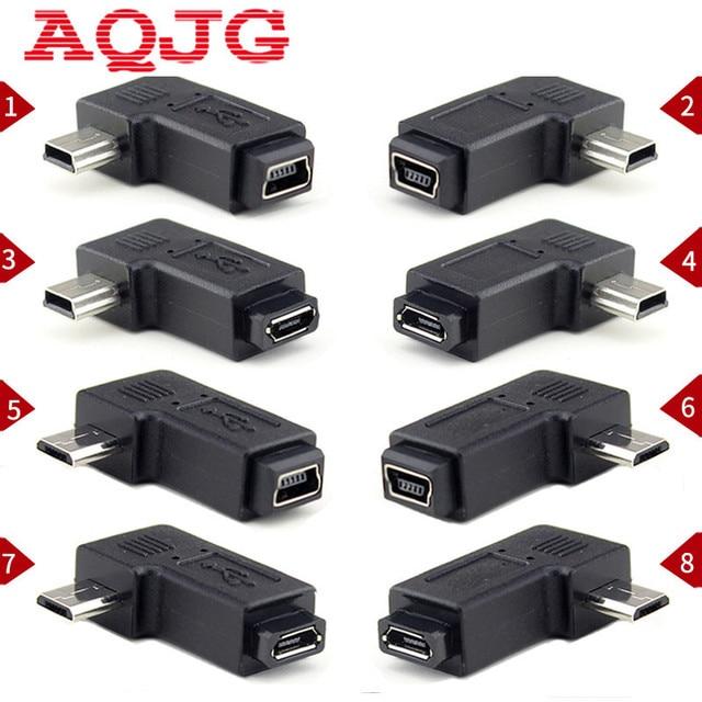 90 Graus À Esquerda & Direita Em Ângulo Mini USB 5pin Feminino para Micro USB Macho Plugue Adaptador de Sincronização de Dados Micro USB Para Mini USB Connector