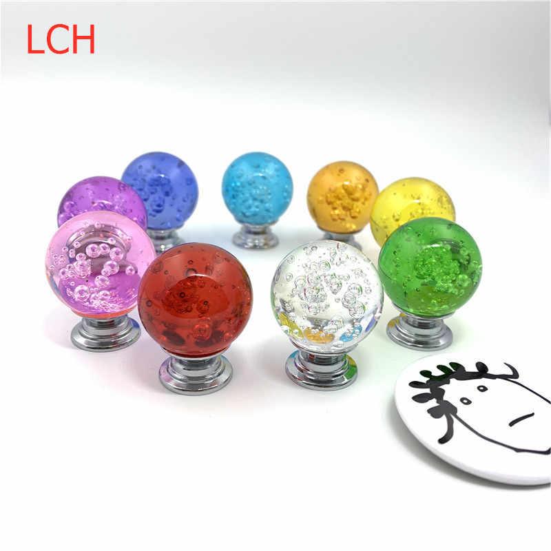 LCH 30mm Modern Avrupa Tarzı Renkli Kabarcık Kristal Top Kolları Dolap Kapı Çekme Gümüş Renk Gümüş taban