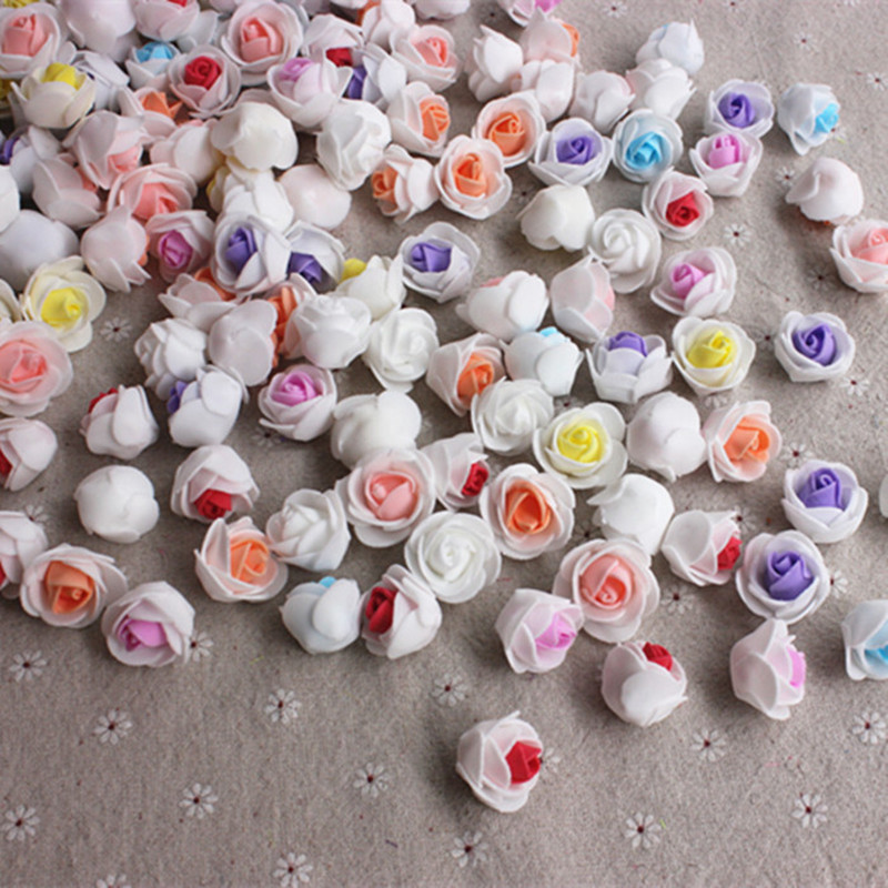 8 Colors Wholesale 30PCS / bag PE foam color handmade DIY wedding roses home decoration artificial flowers multi-head