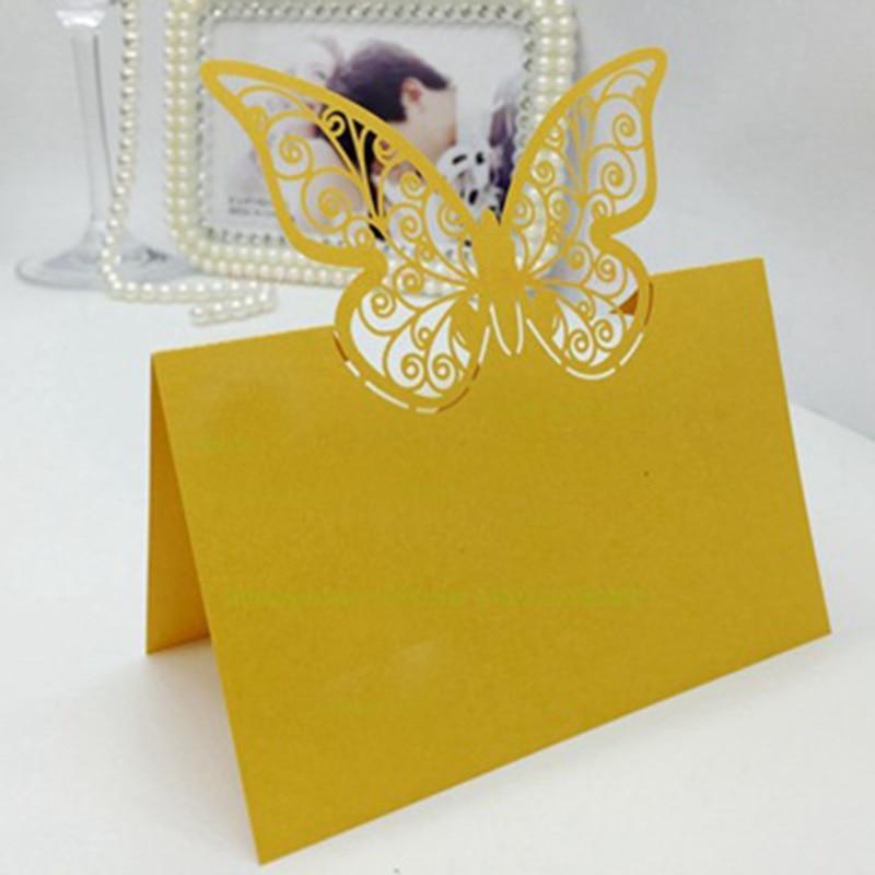 100 шт., бумажная огранка, бабочка лазер, вырезание, место, карты, имя, таблица, знак, свадьба, вечеринка, украшение, приглашения любезности - Цвет: Gold
