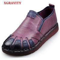 XGRAVITY 2018 Dropshipping Ladies Retro Hand Made Cow Genuine Leather Casual Woman Fashion Flat Shoes Ethnic Lady Footwear A022