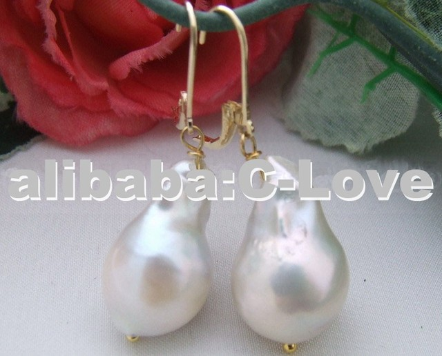 Natural 20mm White Nucleated Pearl Earrings