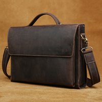 2018 Genuine Leather Briefcases Carry On Handbag 13 1 Laptop Cases Handmade Bags Cowhide Leather Vintage