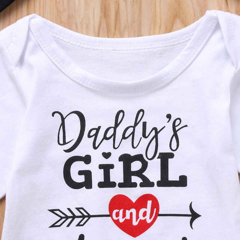 b33ac211a1a ... Newborn Baby Girls Top Romper Pants Hat Headband Outfits Set Clothes  Xmas Gifts Daddy s Girl Mommy s ...
