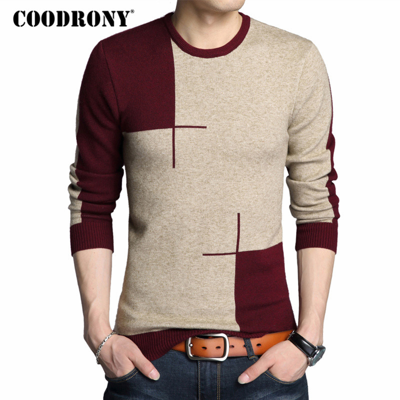 COODRONY 2019 Winter New Arrivals Thick Warm Sweaters O-Neck Wool Sweater Men Brand Clothing Knitted Cashmere Pullover Men 66203