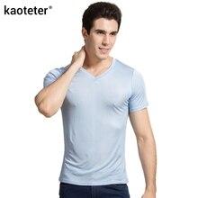 100% echt Silk Mann T shirts Kurzarm V ausschnitt Mann Wilden Schwarz Weiß Einfarbig Männlich Bodenbildung T Pullover shirts Tops