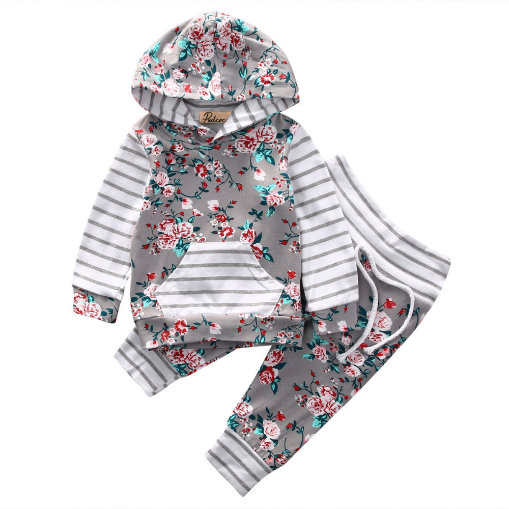 Hot Sale Autumn Baby Clothing Sets Printing Long Sleeves Girls Clothing Sets Cotton 2017 New Leisure Baby Suits