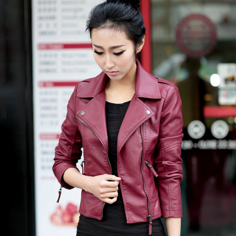 2019 New Arrival Women Thin   Leather   Jacket PU Outwear Black Female Autumn Coat Steetwear Ladies Moto Biker Jackets