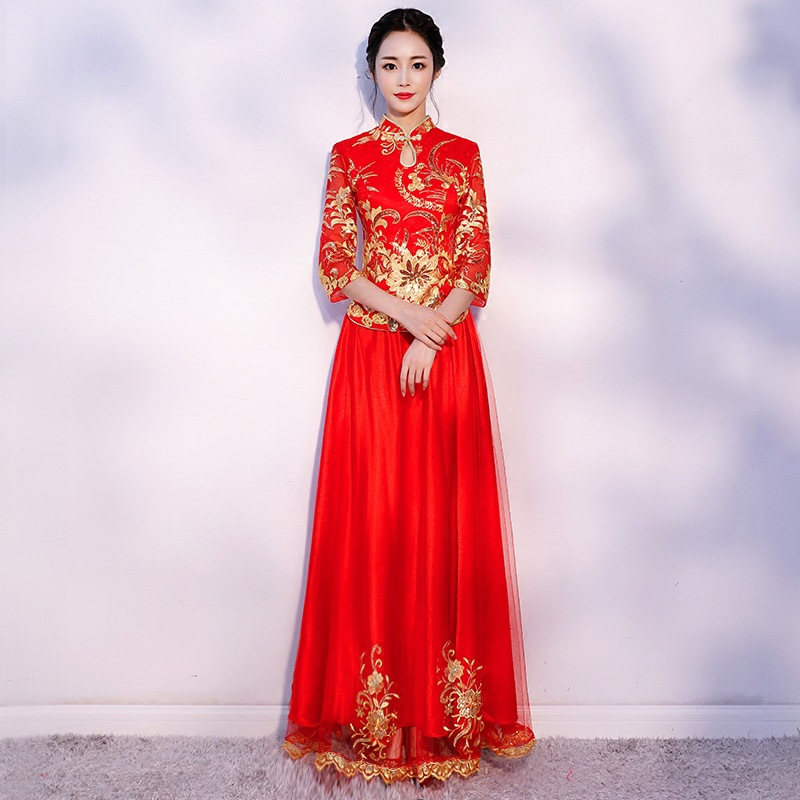 Chinese Wedding Gowns: New Arrival Cheongsam Embroidery Qipao Women Dress Evening