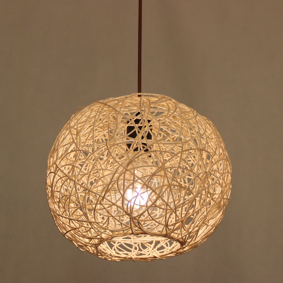 premium selection b248f 4deb2 US $34.15 39% OFF|Free shipping Wicker Rattan Pendant lamp, Hand Woven  bamboo dome Pendant light, Japanese lamp Design-in Pendant Lights from  Lights & ...