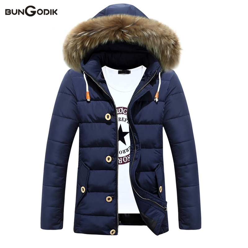 Bungodik Fashion Men Winter Jacket Casual Men's Cotton Padded Clothes Warm Thicken Parkas Long Scetion Wool Collar Loose Coat women s cotton padded long jacket winter leisure wild long cashmere wool liner coat casual pocket zipepr parkas mujer jy 805