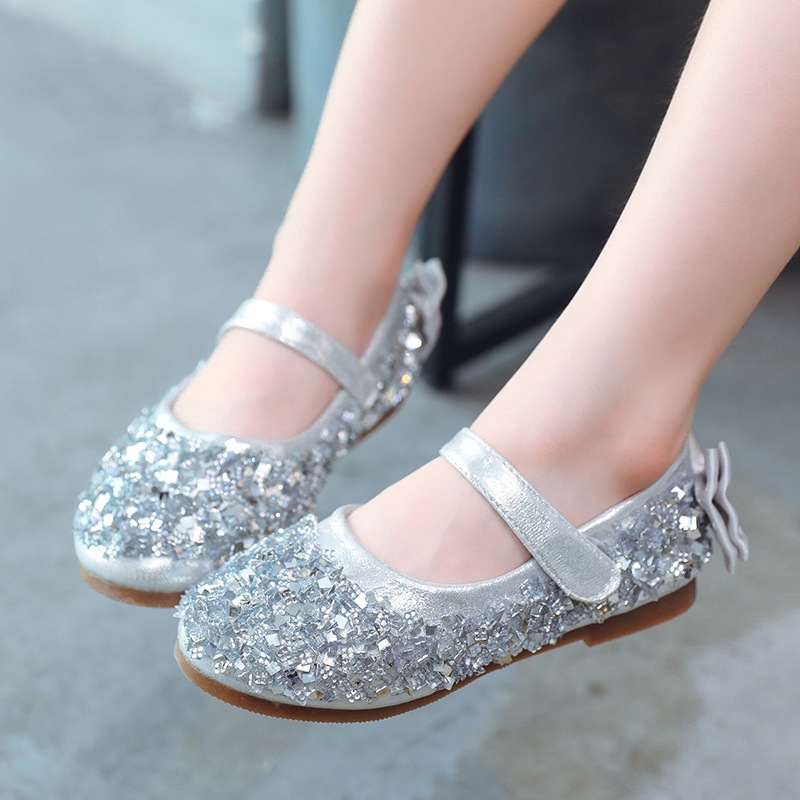 Girls Glitter Bow Sandals Toddler Kids Spanish Party Princess Shoes Flat Heels