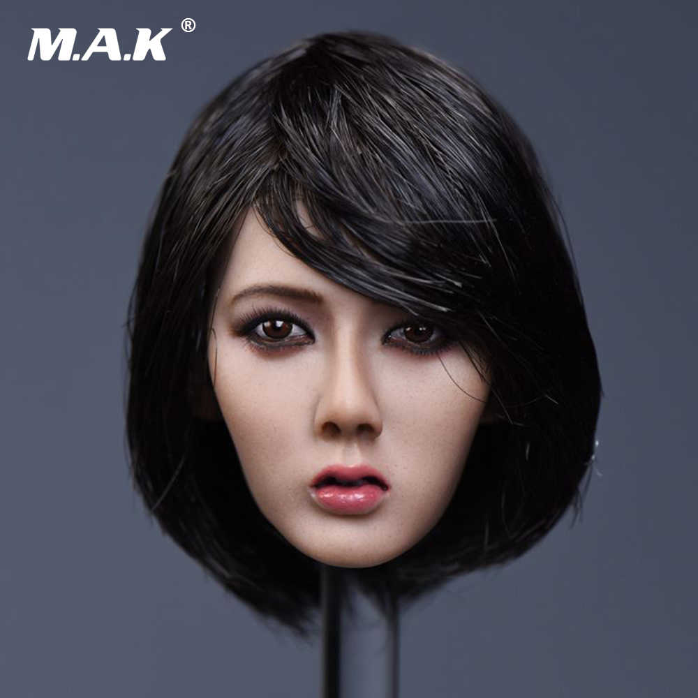 "YMTOYS 1//6 YMT020B Black Short Hair Head Sculpt Carving F 12"" Female Body"