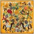 130 см * 130 см тяжелой хлопчатобумажной ткани шелковые цветы Г-Жа Ма большой площади полотенце шарф