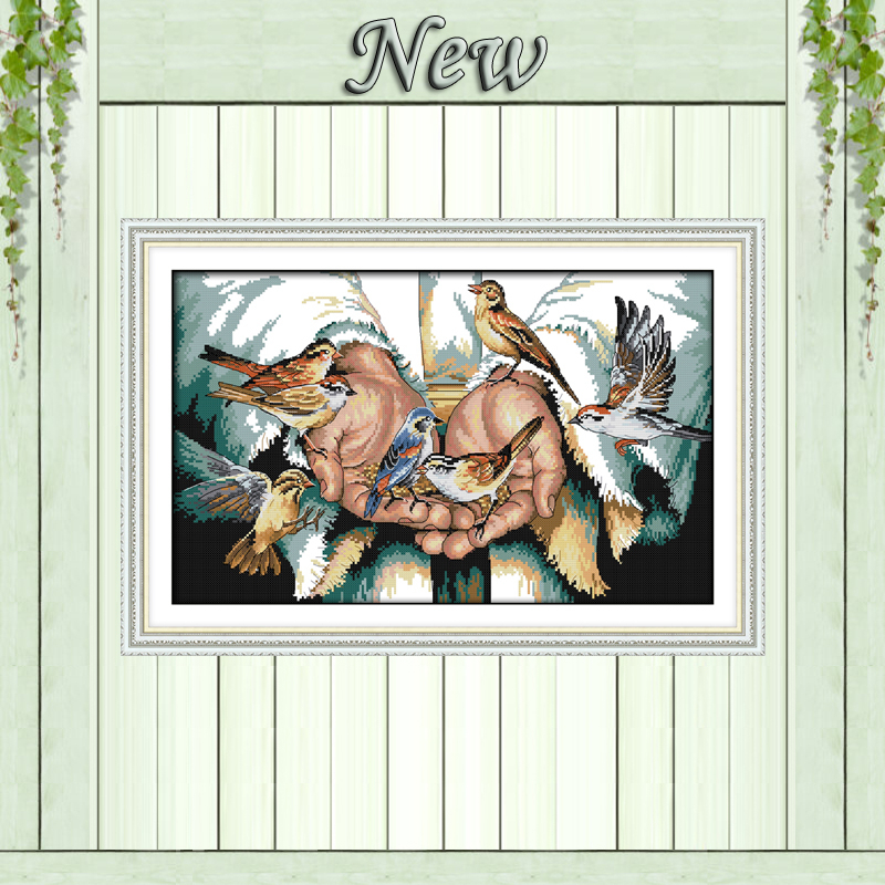 With love in the hands birds painting Counted Print on cloth DMC 11CT 14CT Cross Stitch kit Needlework Set embroidery Home DecorWith love in the hands birds painting Counted Print on cloth DMC 11CT 14CT Cross Stitch kit Needlework Set embroidery Home Decor