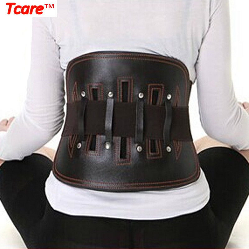 Tcare Leather Posture Corrector Waist Trainer Health Care Waist Support Back Belt Brace With Warm Patch